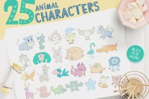卡通动物手绘图案装饰儿童主题设计素材 Character Animal Decorative for Kids插图1