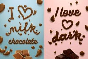 丝滑巧克力质感PS字体样式 Chocolate text effect插图6
