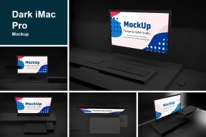 暗黑背景iMac Pro苹果一体机电脑样机模板 Dark iMac Pro插图1