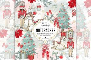 圣诞节胡桃夹子矢量手绘设计素材 Christmas Nutcracker design插图1