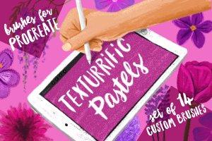 彩色粉笔蜡笔画Procreate专用笔刷 Texturrific Pastels for Procreate插图1