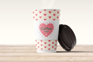 咖啡纸杯咖啡品牌VI设计样机模板 Coffee Cup Mock-up插图1