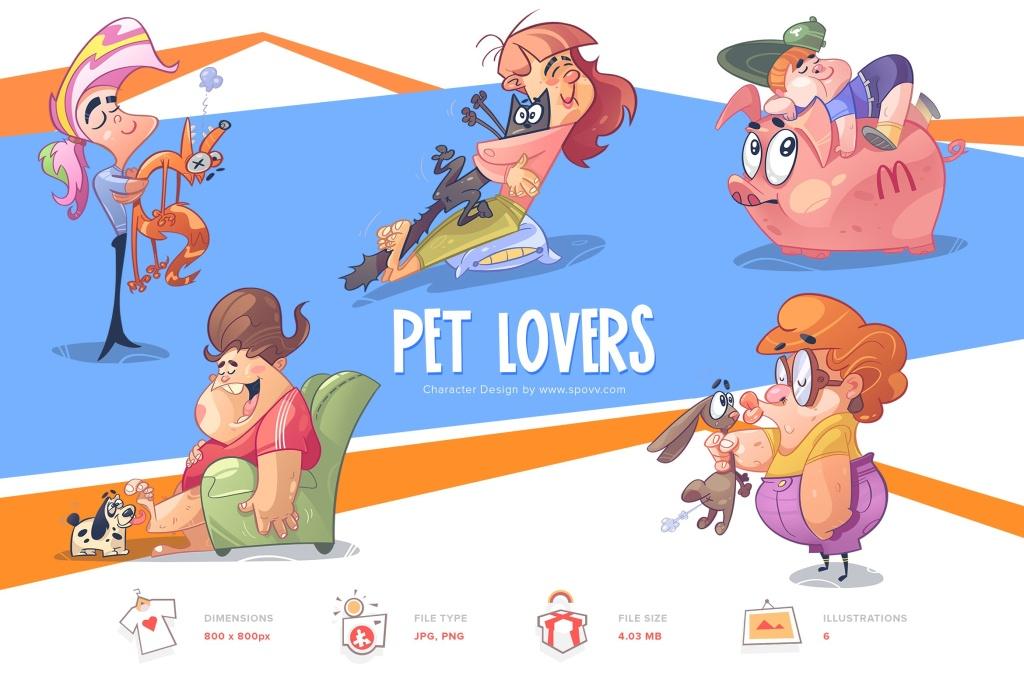 宠物爱好者卡通形象手绘插画PNG素材 Pet Lovers插图