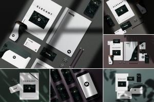 8个企业品牌VI标识设计预览办公用品等距场景样机模板 8 Identity Stationery Mockups插图1
