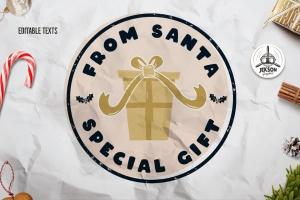 复古风格圣诞节主题T恤印花图案设计素材 Santa T-Shirt. Christmas Vector Print, Holiday SVG插图1