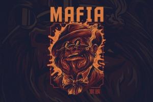 黑手党形象T恤印花图案设计 Mafia Ver 2插图1