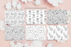 秋季花卉元素手绘线条画矢量插画素材 Monoline vector autumn floral elements插图11