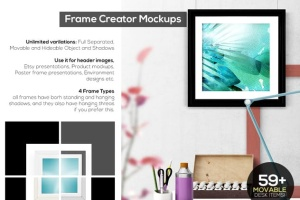 办公场景油画艺术品照片框架样机 Frame Creator Mockups插图3
