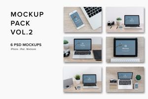 iPhone&Macbook办公桌场景UI设计样机套装Vol.2 Mockup Pack Vol.2 – 06 Photorealistic PSD插图1
