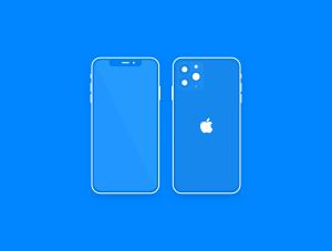 极简主义扁平设计风格iPhone 11 Pro手机样机SKETCH模板插图1