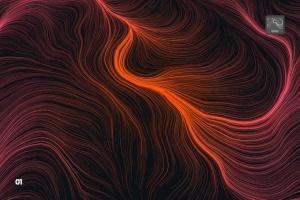 10款高分辨率抽象数流体线条PS笔刷 Digital Perlin Flow Fields Photoshop Brushes插图2