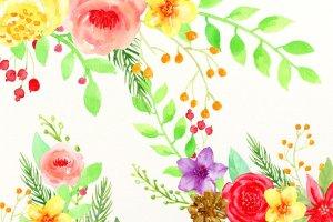 圣诞主题水彩插花套装 Christmas Floral Arrangement插图2