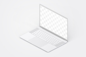 MacBook Pro笔记本电脑设计效果演示右视图样机 Clay MacBook Pro 15″ with Touch Bar, Right Isometric View Mockup插图2