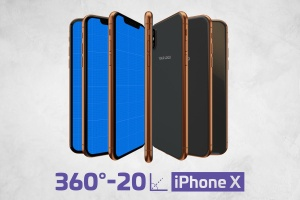 360度全方位 iPhone X 样机模板 iPhone X Kit Mockup插图1