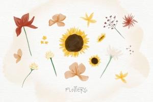 秋天主题水彩手绘图案设计素材包 Autumn Watercolor Kit插图5