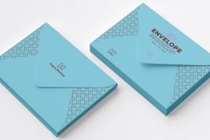 A7尺寸规格信封设计效果图样机模板 A7 Envelope Stack Mockup 01插图1