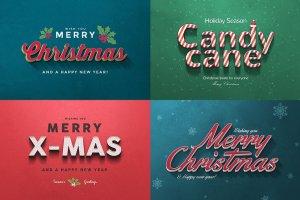 圣诞节主题文本图层样式v1 Christmas Text Effects Vol.1插图3