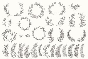 简洁且精美的花环剪贴画  Whimsical Laurels & Wreaths Clip Art插图3