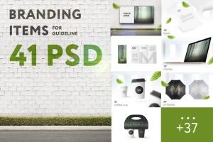 41合1品牌VI视觉设计/Logo设计效果图样机素材包 Branding Items Mock-up for guidelines. 41 PSD插图1