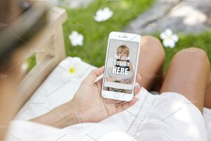 生育育儿主题孕妇手持iPhone样机模板 iPhone Pregnat Mockups插图9