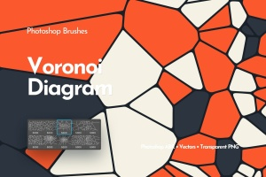 Voronoi不规则多边形几何图案PS笔刷 Voronoi Diagram Photoshop Brushes插图1