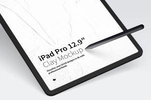 "iPad Pro平板电脑Web页面设计效果图样机 Clay iPad Pro 12,9"" Mockup插图2"