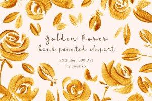 23个豪华手绘金玫瑰剪贴画集合 Golden Roses clipart set插图1