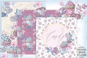 糖果女孩水彩花卉剪贴画合集 Candy Girl digital paper pack插图4