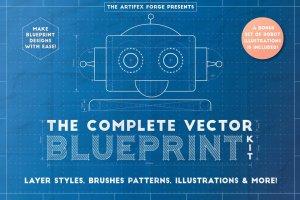 工业蓝图设计图风格设计AI模板工具包 The Complete Vector Blueprint Kit插图1