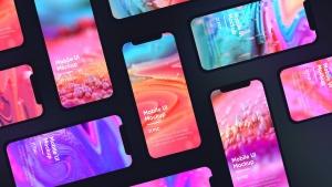 黑色iPhone手机UI界面设计效果图等距网格样机模板 Dark iPhone Mockup插图7
