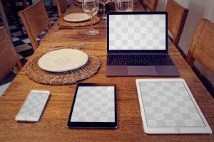 苹果智能设备屏幕界面UI设计效果图样机套装 iPhone 6, iPad Mini 3, iPad Air 2, Macbook, Dish Mockup插图2