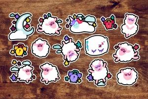 有趣可爱的晚安贴纸画手绘矢量图形设计素材 Fun Good Night Stickers Set插图1