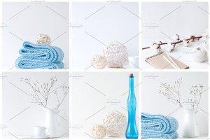 蓝色主点缀办公场景样机模板 Blue stock photo bundle插图3