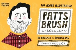 AI手绘插画必备的50个笔刷&60种图案纹理 Patts Brush Collection for Adobe Illustrator插图1