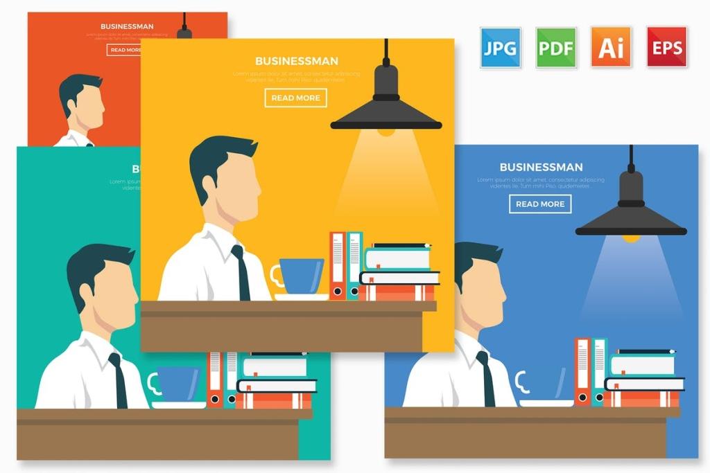 公司职员白领办公场景矢量插画设计免费素材 Businessman design插图