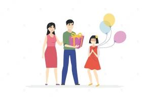 生日会场景卡通人物矢量图形 Happy birthday – cartoon people characters插图1
