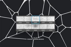 Voronoi不规则多边形几何图案PS笔刷 Voronoi Diagram Photoshop Brushes插图6