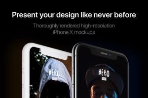 高质量黑色iPhone X设备样机模板 HERO Phone X Mockups插图3