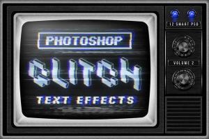 复古老电视失真信号故障PS字体样式Vol.II Photoshop Glitch Text Effects Vol. II插图1