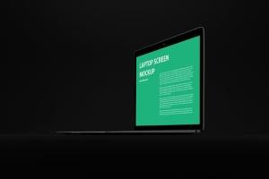 黑色背景MacBook Air笔记本电脑演示样机 Black MacBook Air Mockup插图5