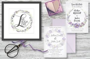 紫色水彩手绘花环图案PNG素材 Trio of Watercolor Floral Wreaths in Purple Shades插图6
