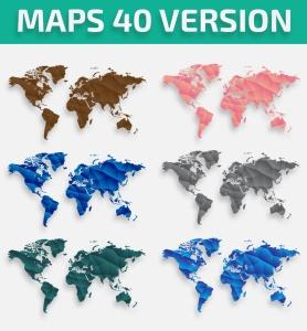 40种设计风格世界地图矢量图形设计素材下载 Map of the world 40 Version插图4