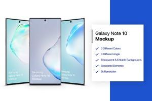 三星Galaxy Note 10手机样机模板 Samsung Galaxy Note 10 Mockup 1.0插图1
