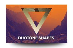 双色调几何形状PSD分层模板 Duotone Geometric Shapes插图1