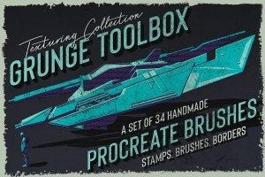 素描卡通3D渲染笔刷 Grunge Toolbox Procreate Brushes插图1