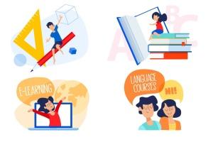 校园场景学习主题矢量插画素材 Education illustrations插图1