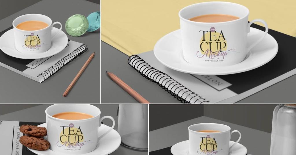 茶杯陶瓷杯外观设计样机模板 Tea Cup Mockup Scenes插图