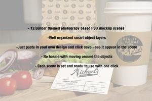 汉堡咖啡品牌样机模板 Burger Cafe Mockup插图12