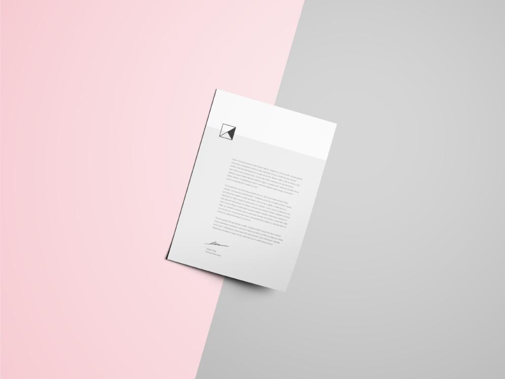 简约风企业信纸信头设计样机 Letter Head Mockup插图