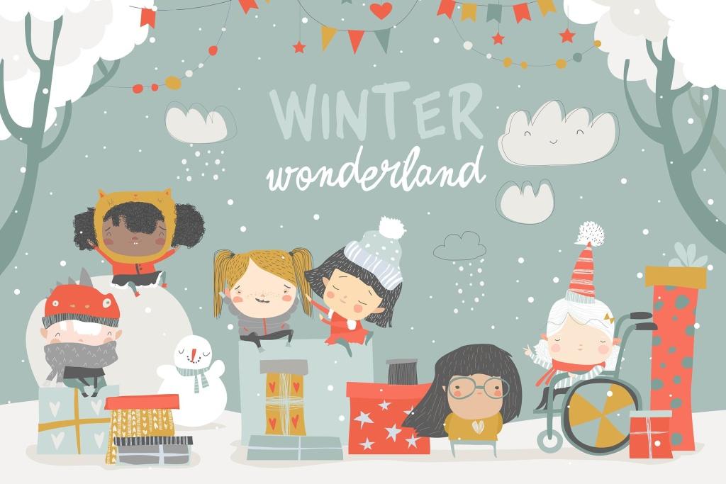冬季儿童手绘圣诞节主题矢量插画素材 Cartoon different children enjoying winter. Hello插图